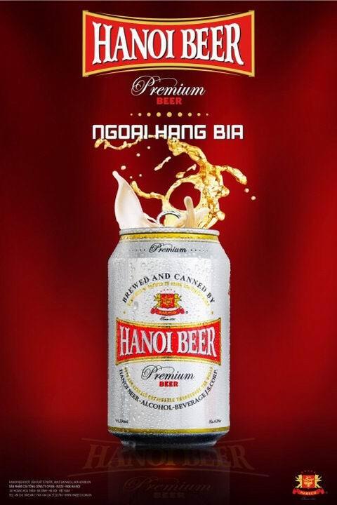 Hanoi Beer Premium lon 330ml với diện mạo trẻ trung, hiện đại.